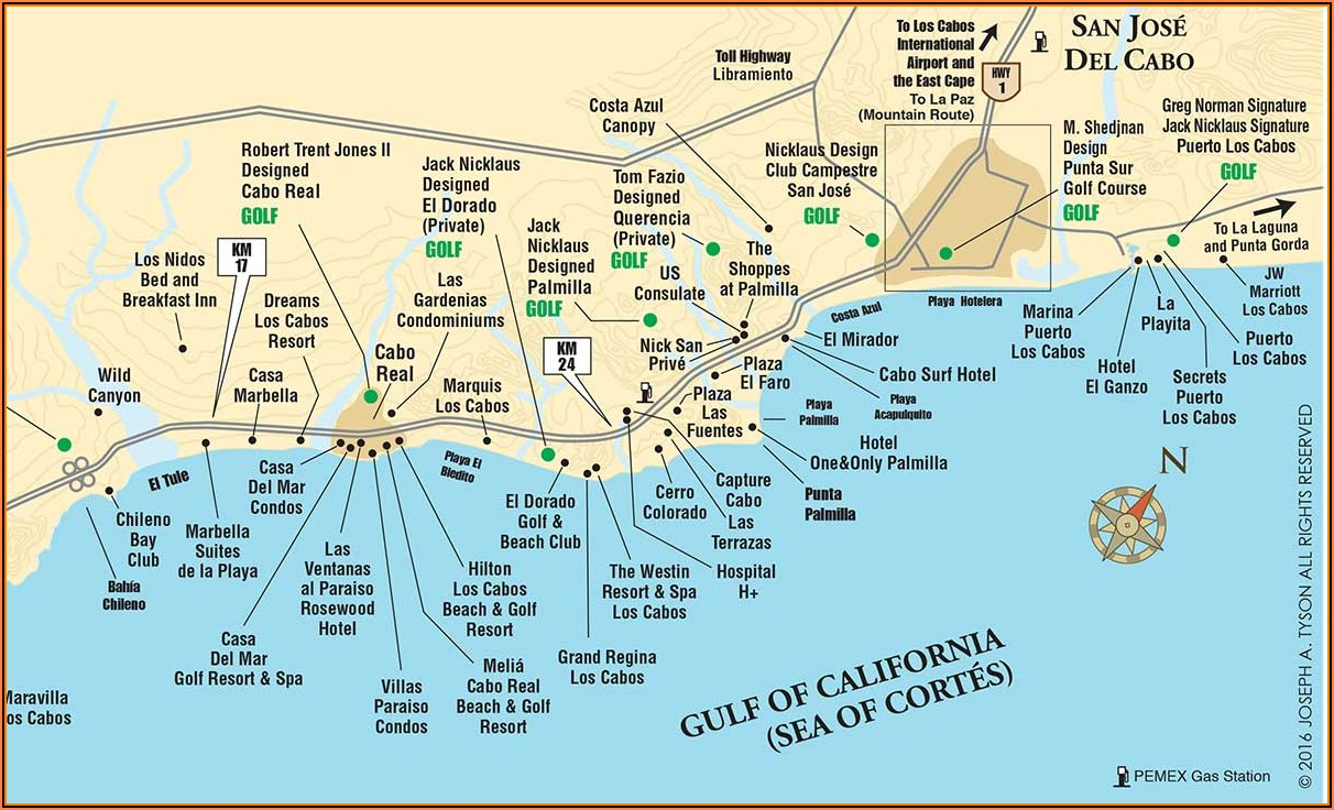Map Of Los Cabos Showing Hotels