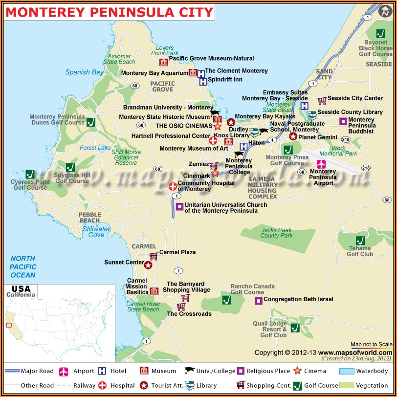 Map Of Monterey Hotels