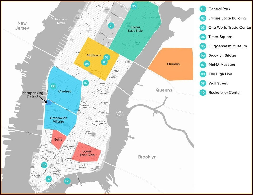 Map Of New York City Hotels And Attractions
