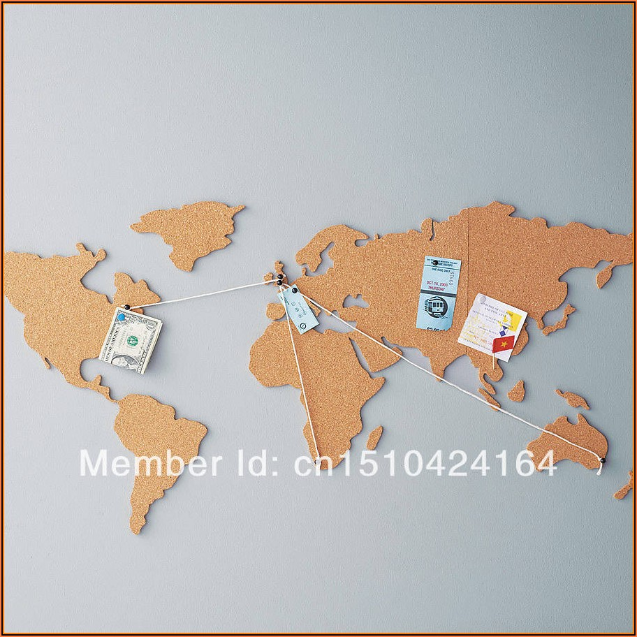 Map Of The World Cork Board