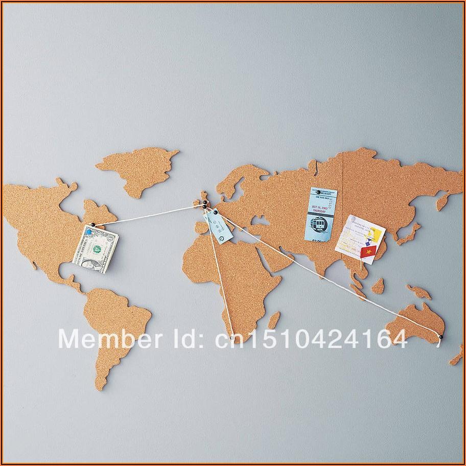 Map Of The World Cork Board