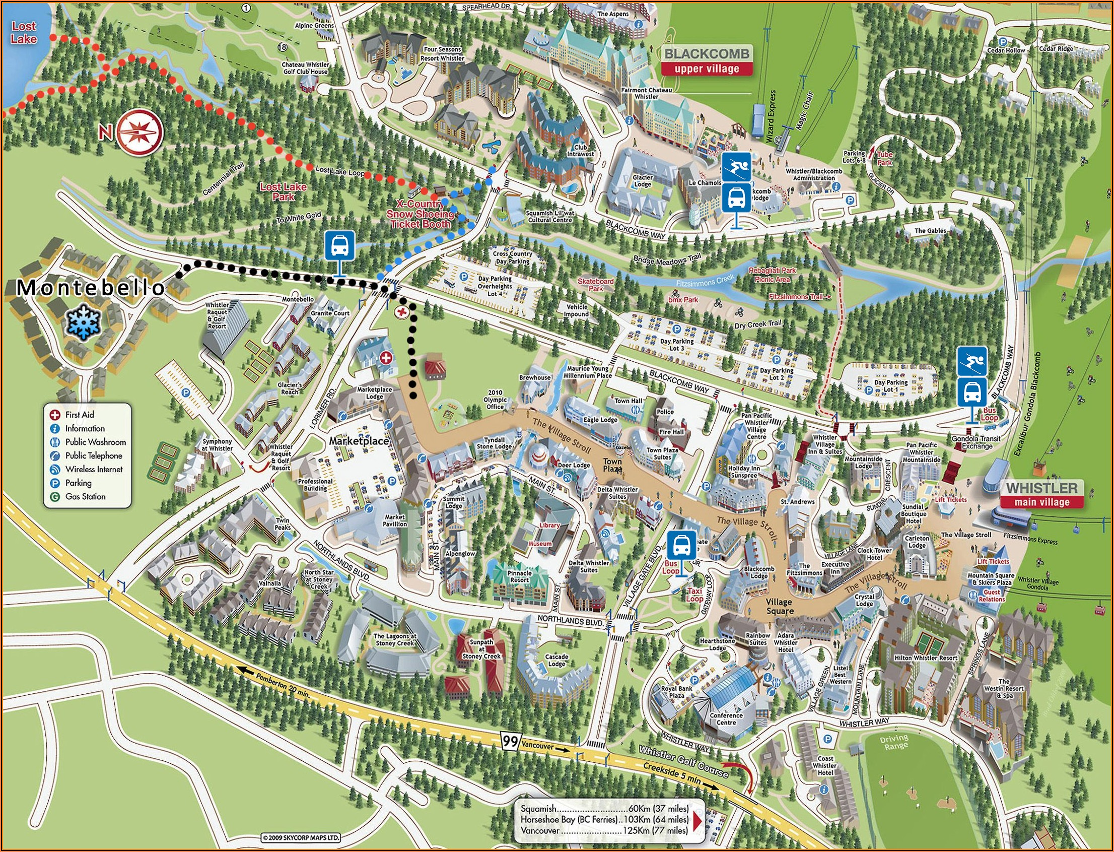 Map Of Whistler Village Accommodations
