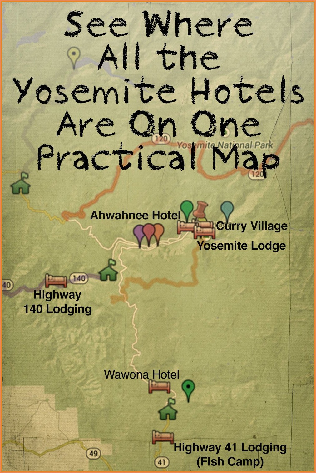 Map Of Yosemite Area Hotels