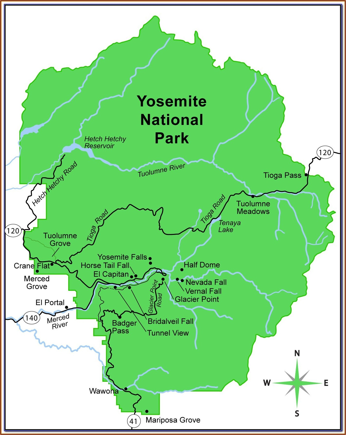 Map Of Yosemite National Park In California