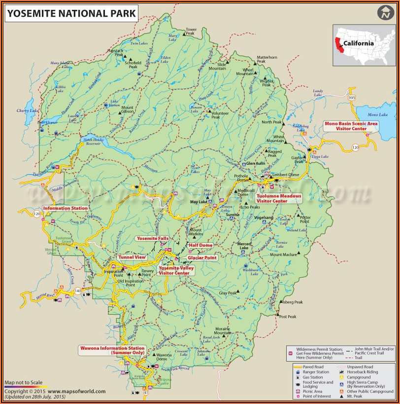 Map Of Yosemite National Park Lodging