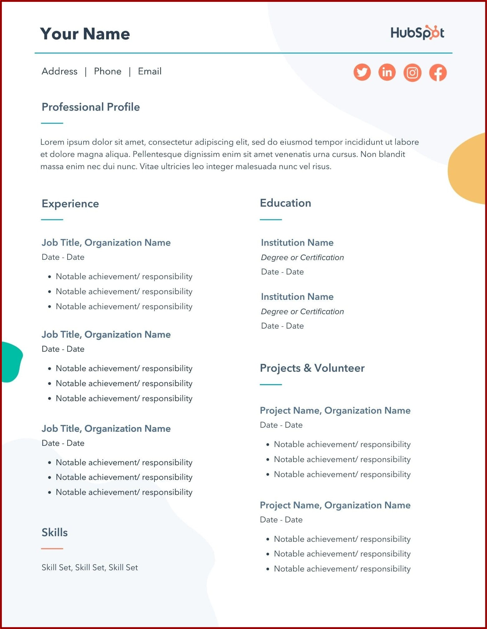 Marketing Resume Templates Free Download
