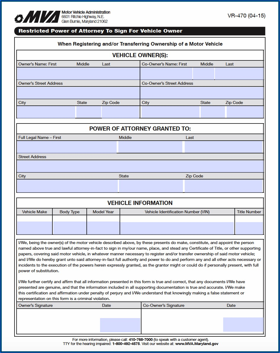 Md Power Of Attorney Form 548