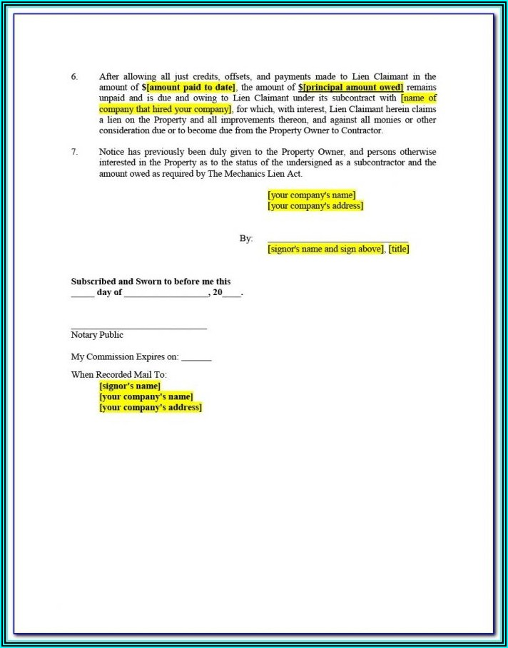 Mechanics Lien Waiver Form Illinois