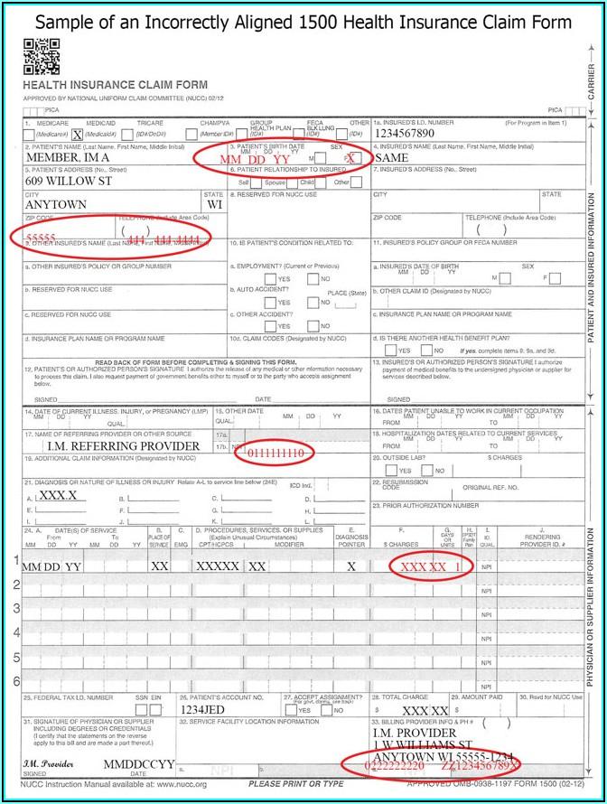 Medicare Cms 1500 Claim Form
