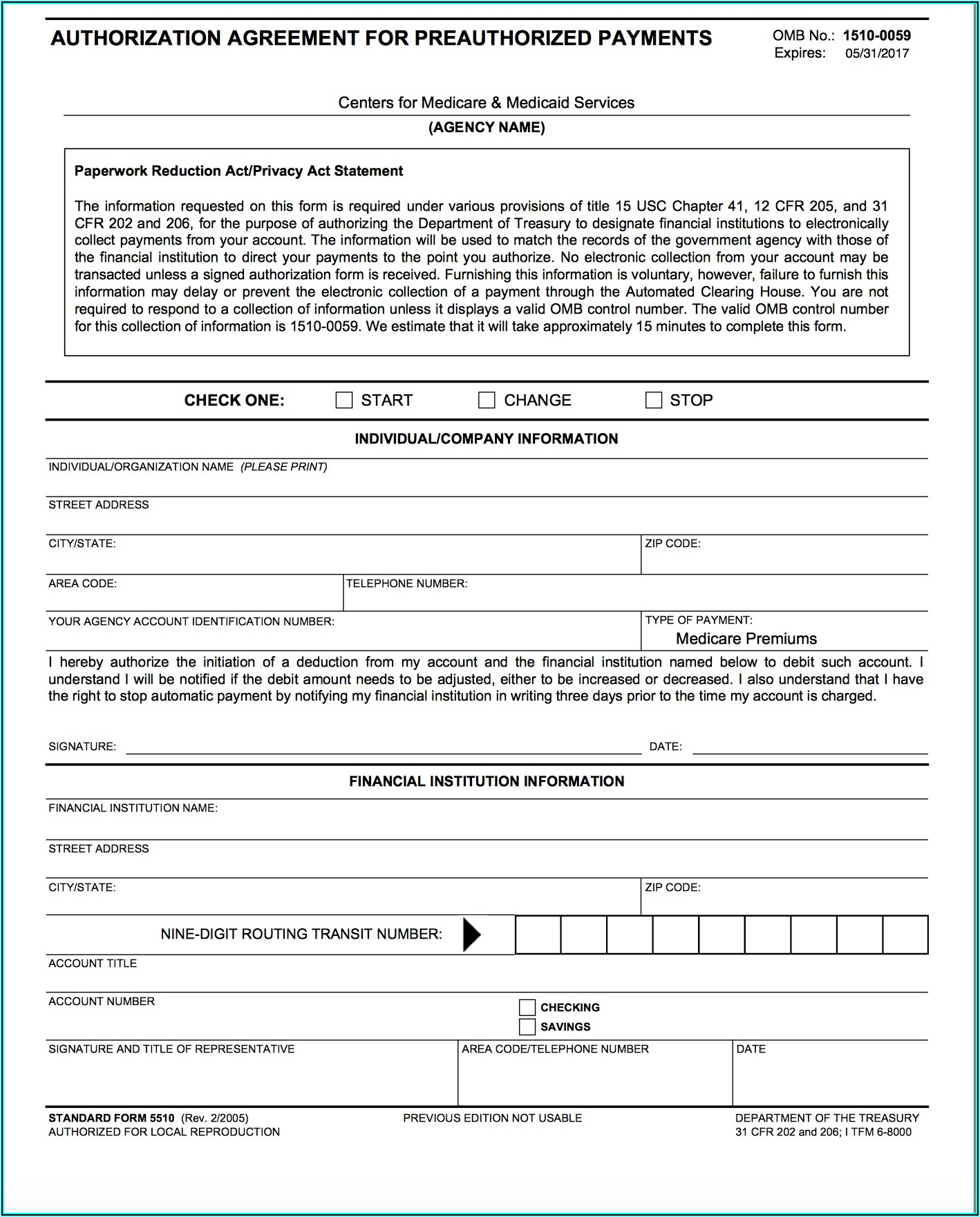 Medicare Easy Pay Form 5510