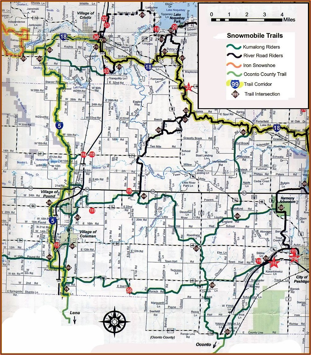 Minocqua Wi Snowmobile Trail Map