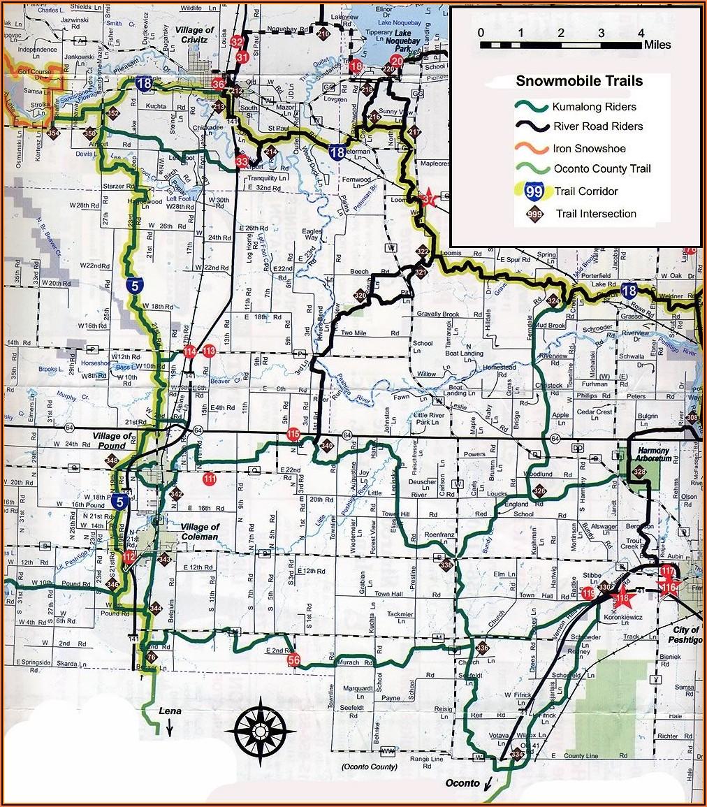 Minocqua Wi Snowmobile Trail Map