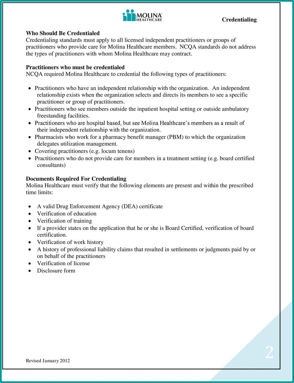 Molina Healthcare Credentialing Forms