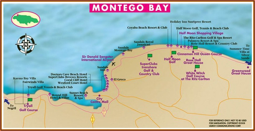 Montego Bay Jamaica Hotels Map