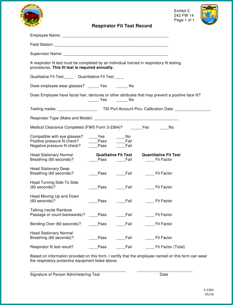 N95 Qualitative Fit Test Form