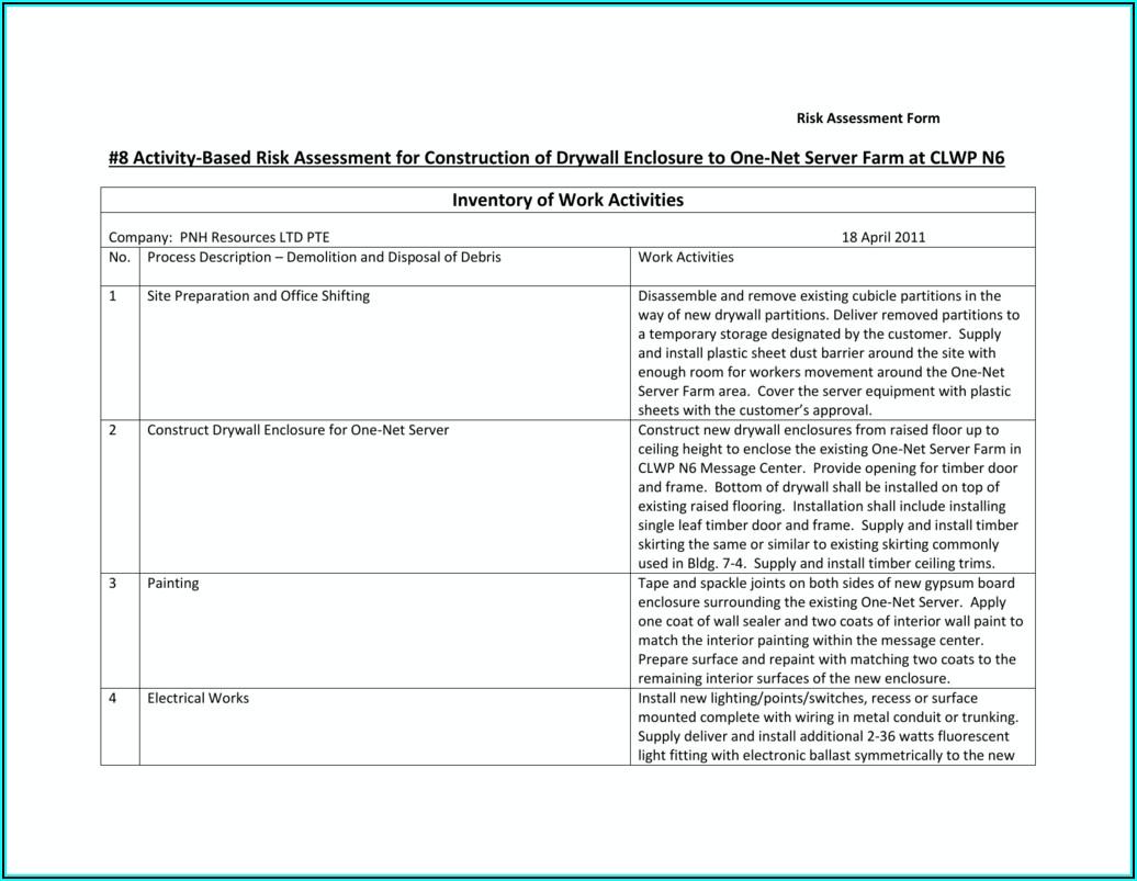 Navfac Activity Hazard Analysis Form