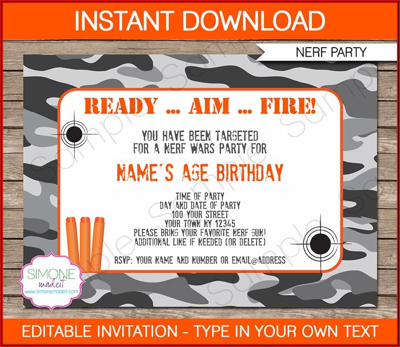 Nerf Gun Birthday Invitations Templates