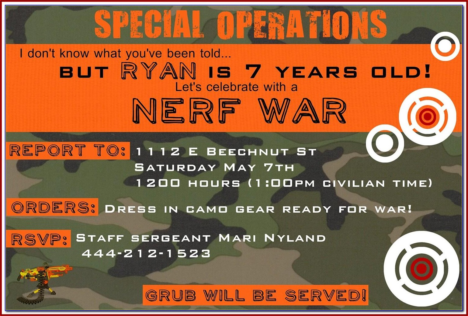 Nerf Gun Invitation Template Free