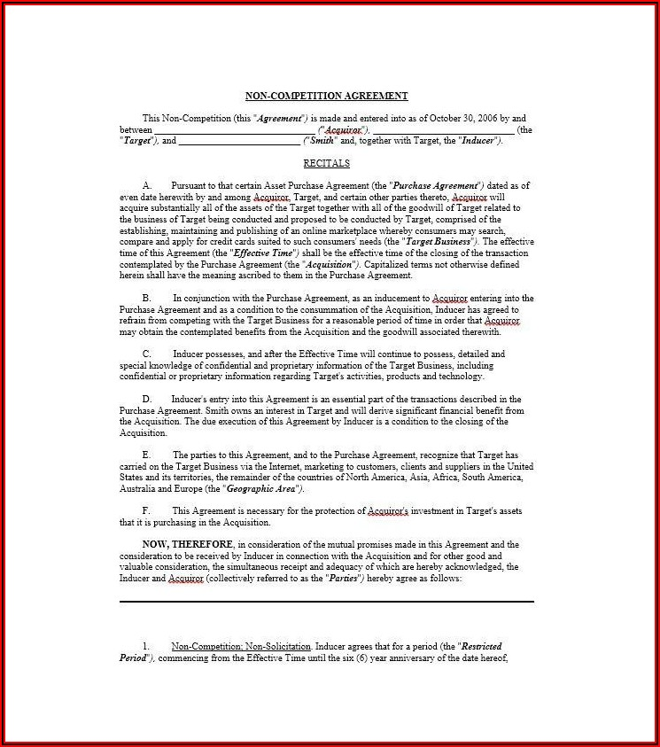Non Compete Agreement Texas Template