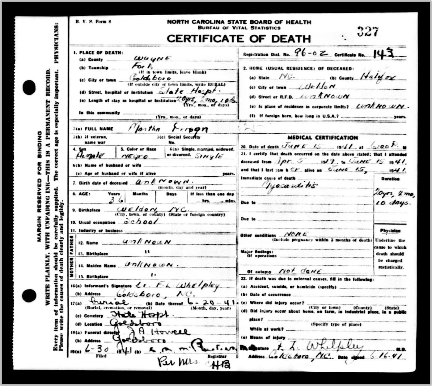 North Carolina Death Certificate Form