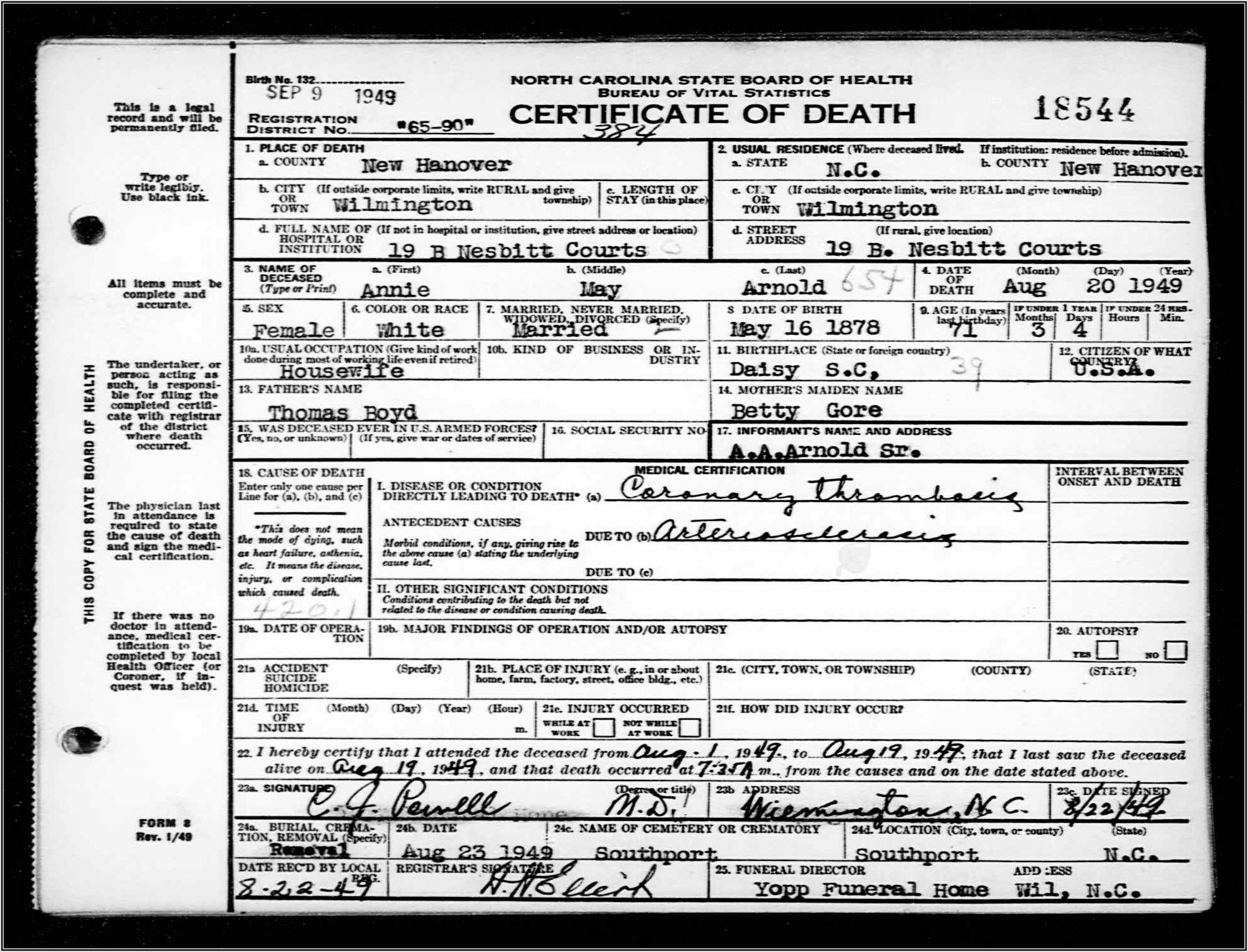 North Carolina Vital Records Forms