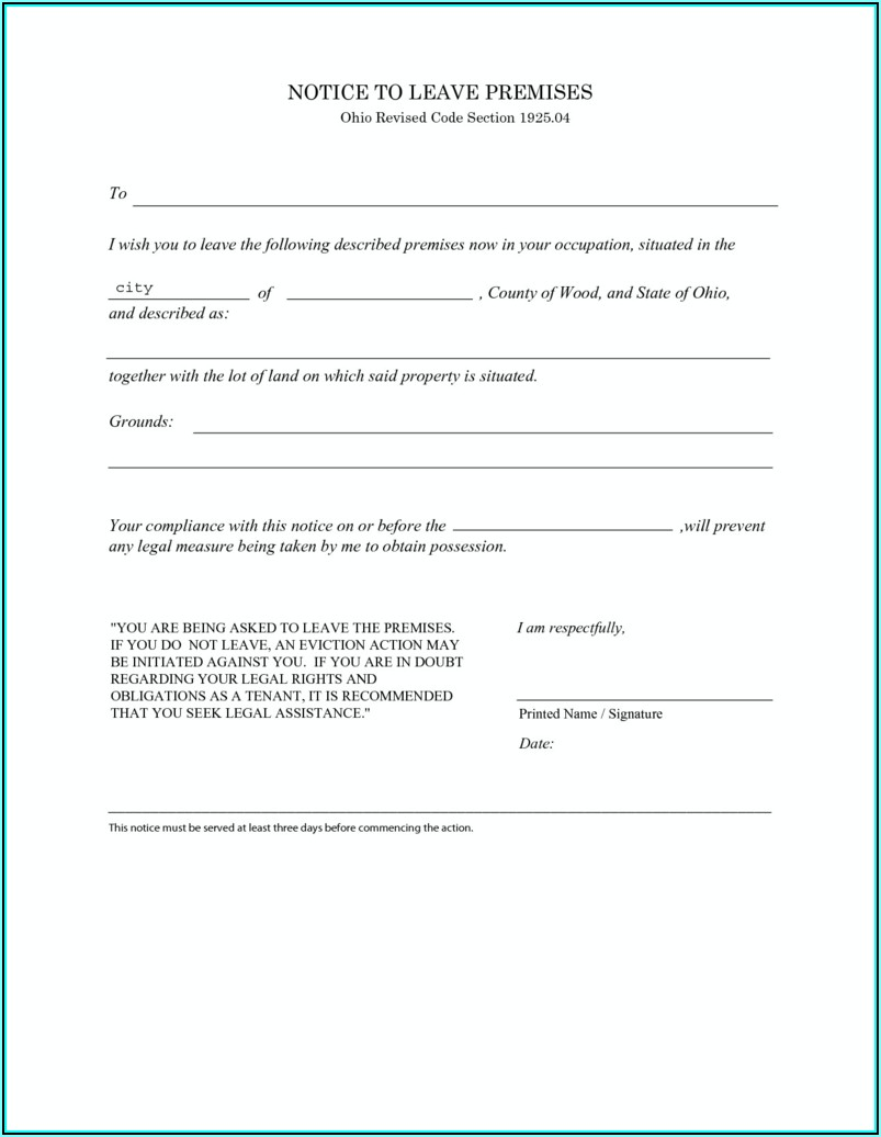Ohio 3 Day Eviction Notice Form Free