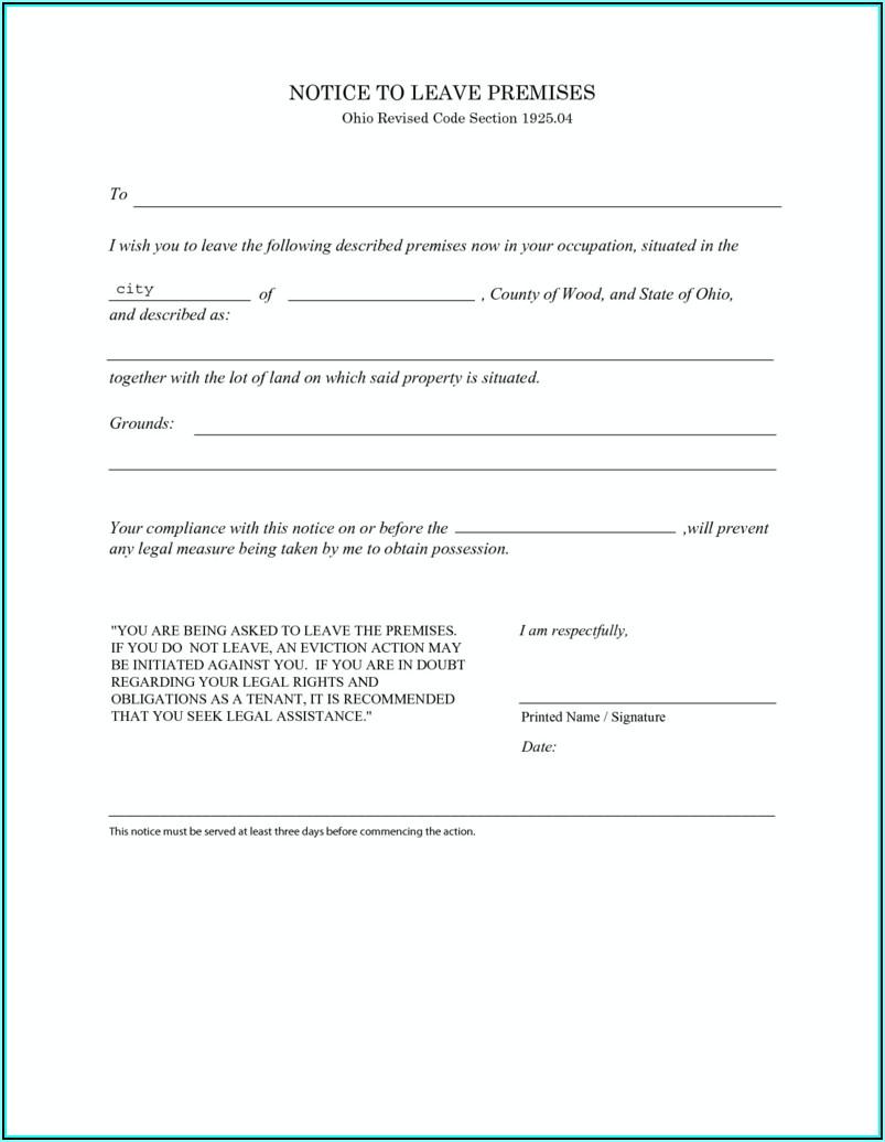 Ohio 3 Day Eviction Notice Form Free