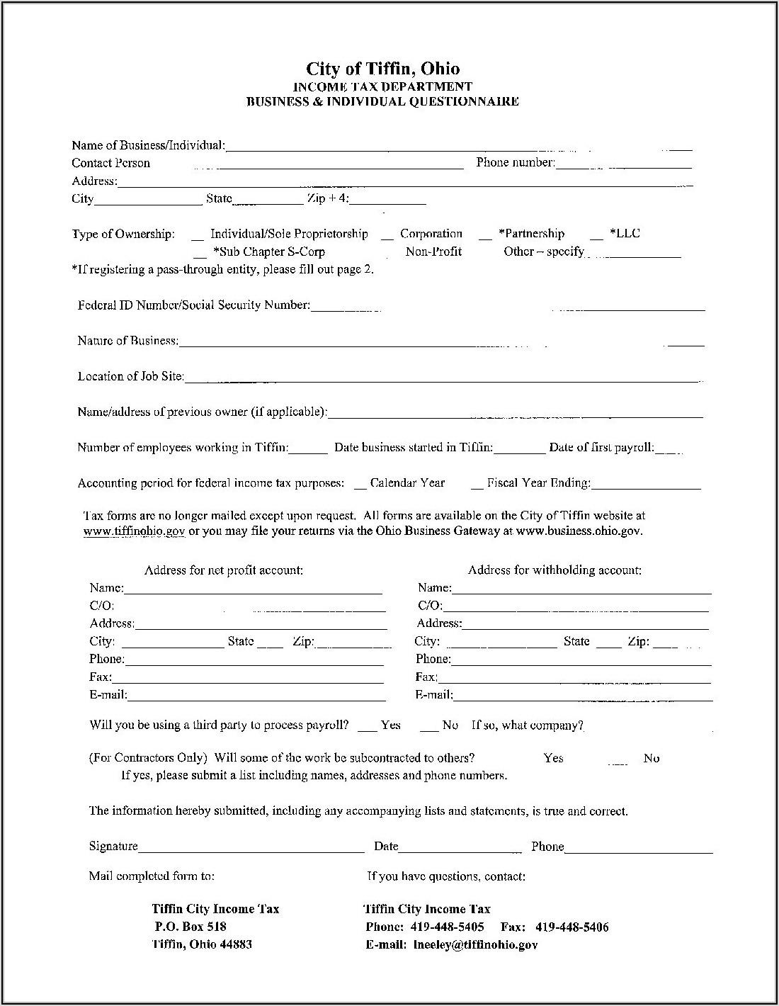 Ohio State Gov Tax Forms