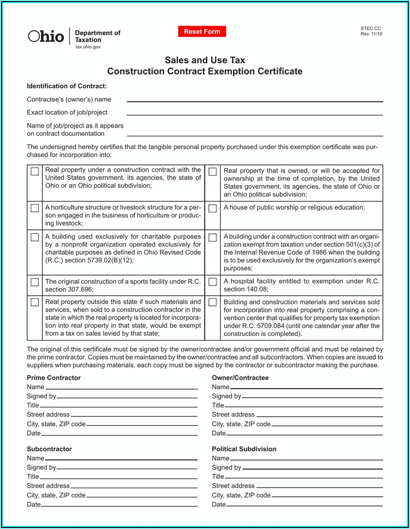 Ohio.gov Tax Exempt Form