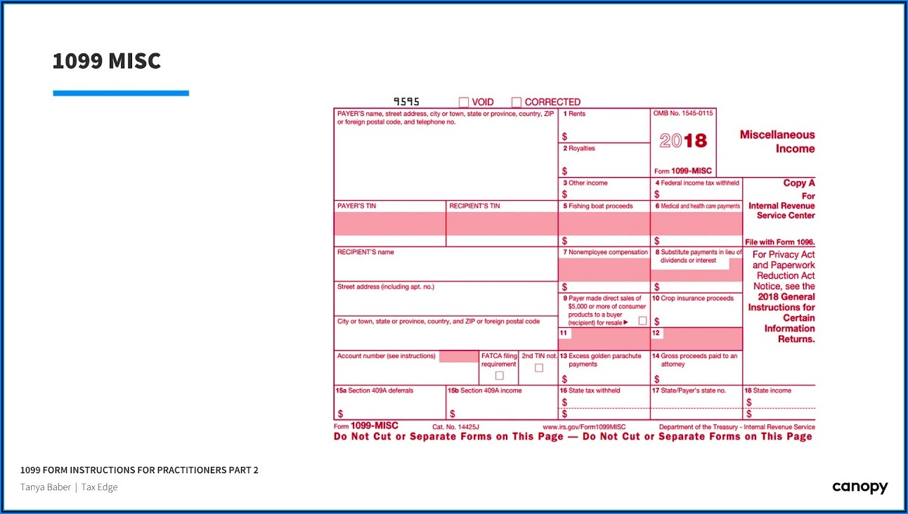 Order Form 1099 Misc 2018 From Irs