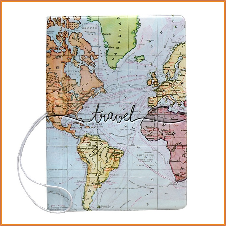 Passport Cover Map Leather