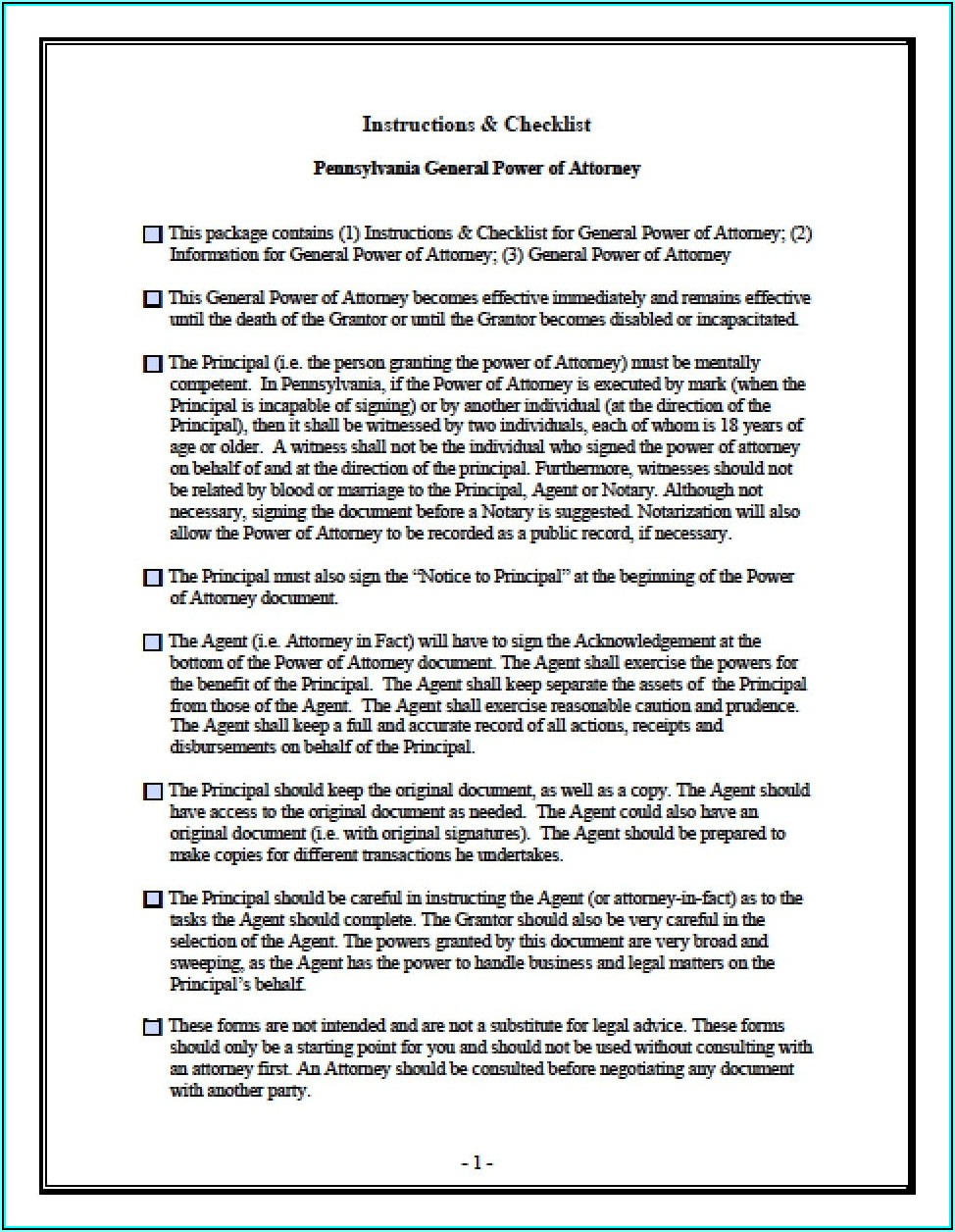 Pennsylvania Medical Power Of Attorney Form 2018