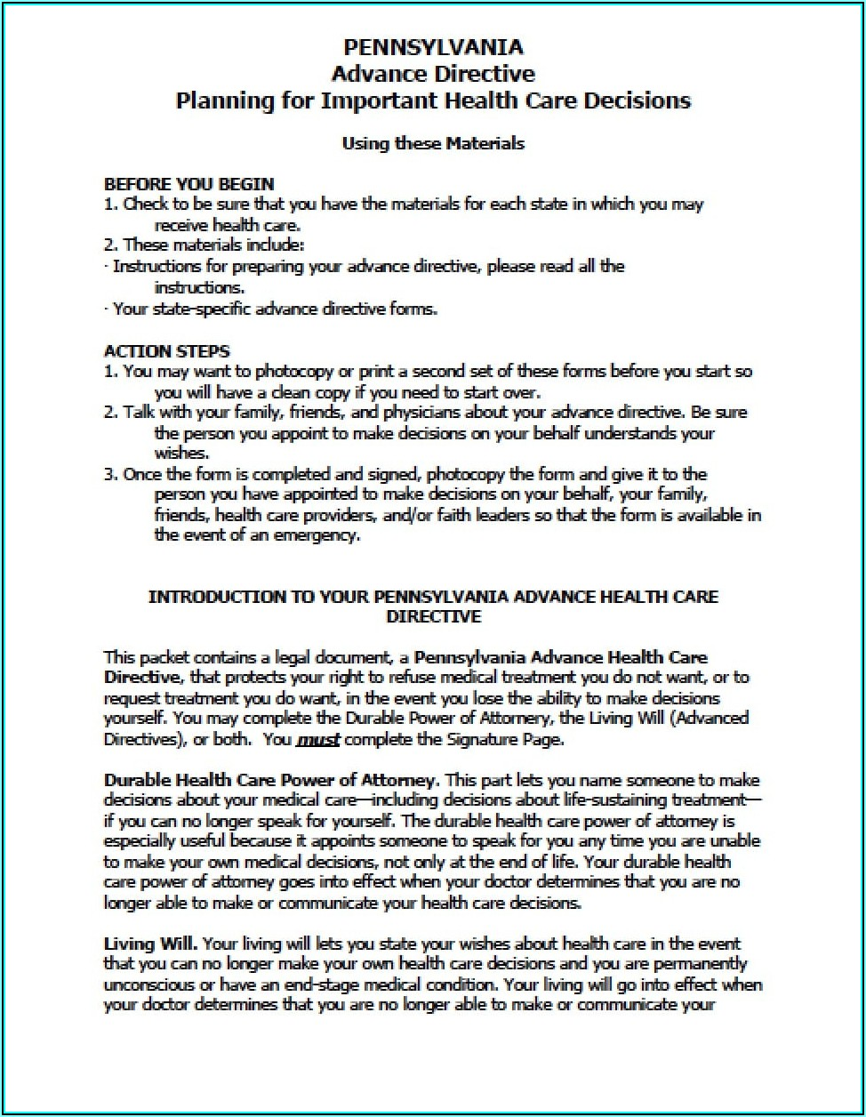 Pennsylvania Medical Power Of Attorney Form 2020