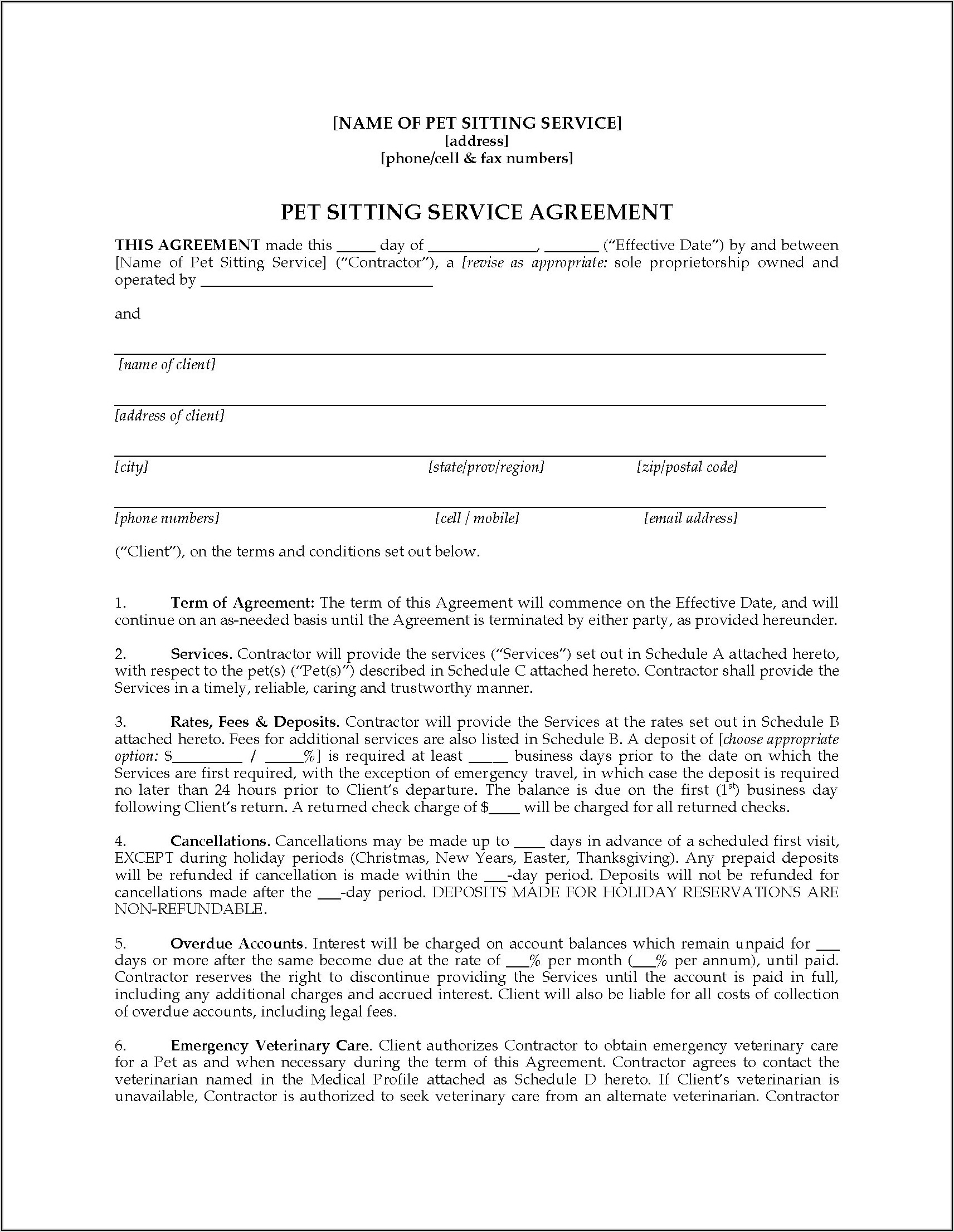 Pet Sitter Contract Forms