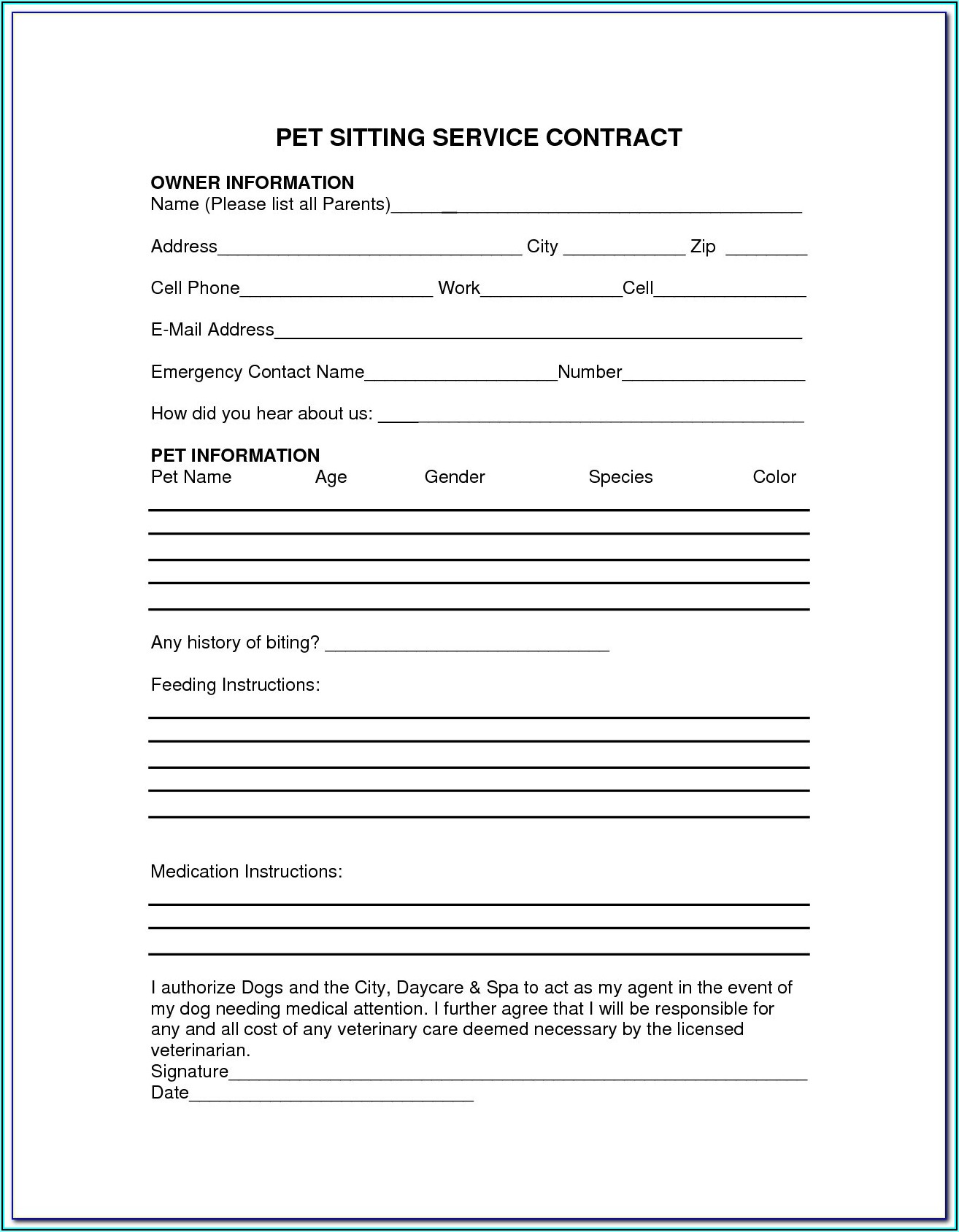 Pet Sitting Contract Forms