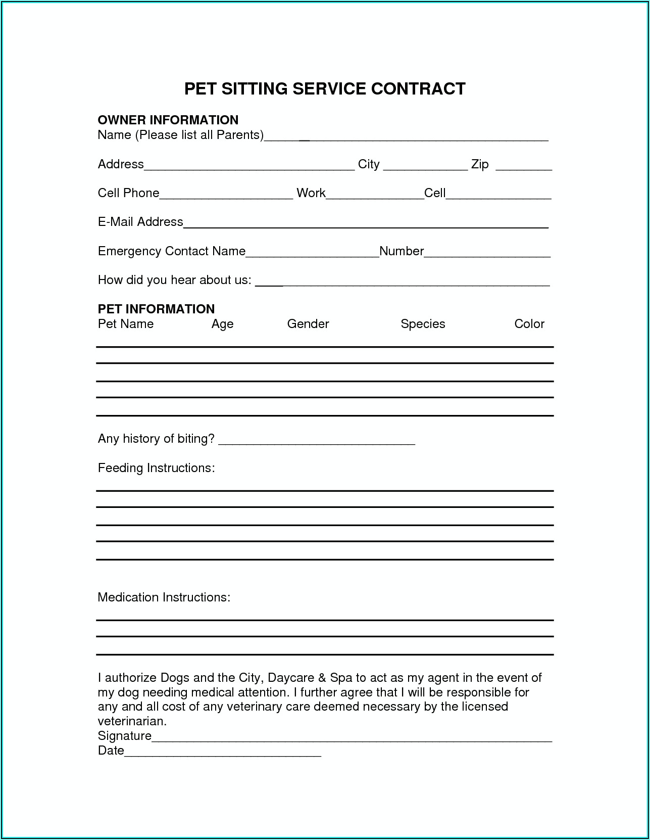 Pet Sitting Contract Template Pdf