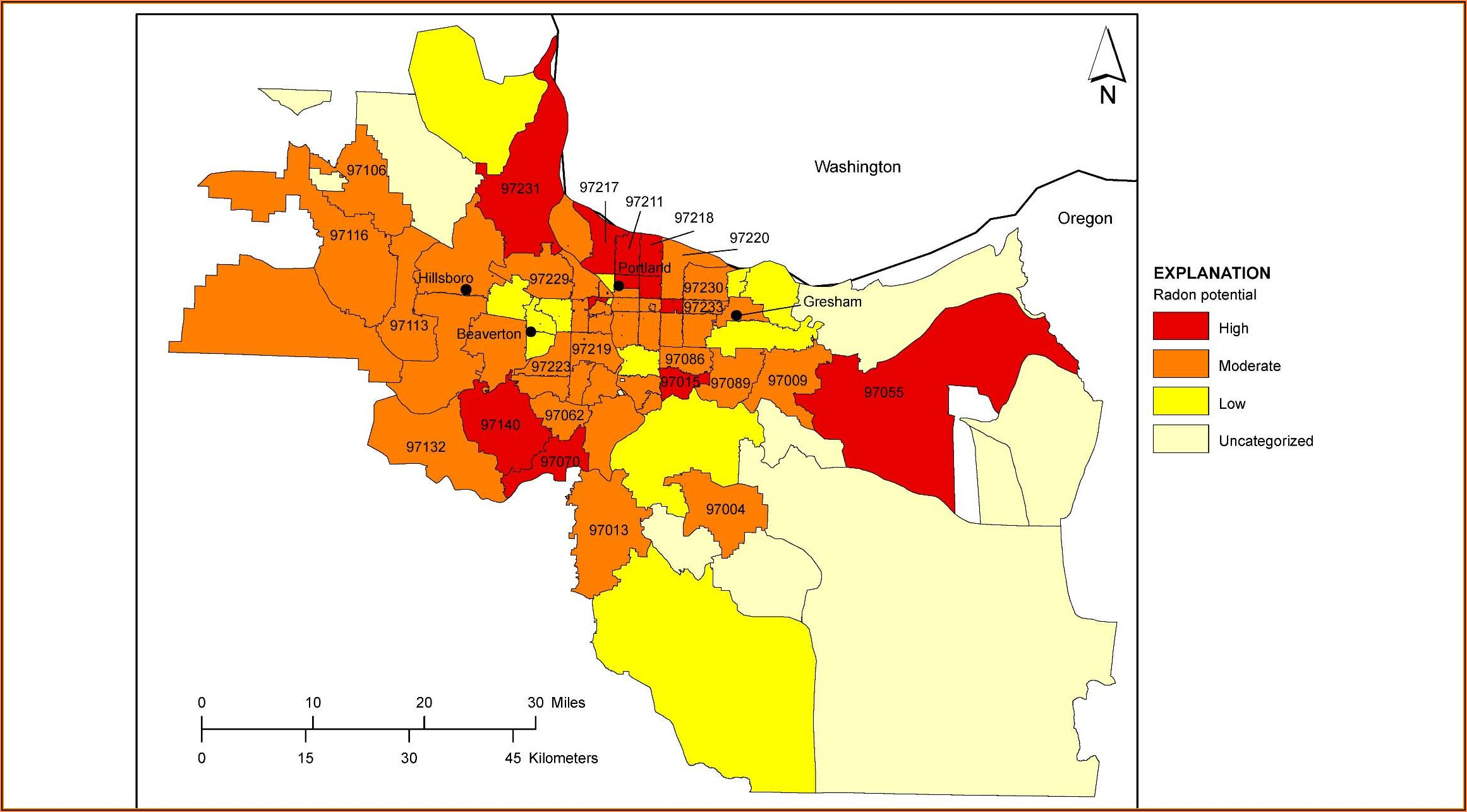 Portland Oregon Radon Map