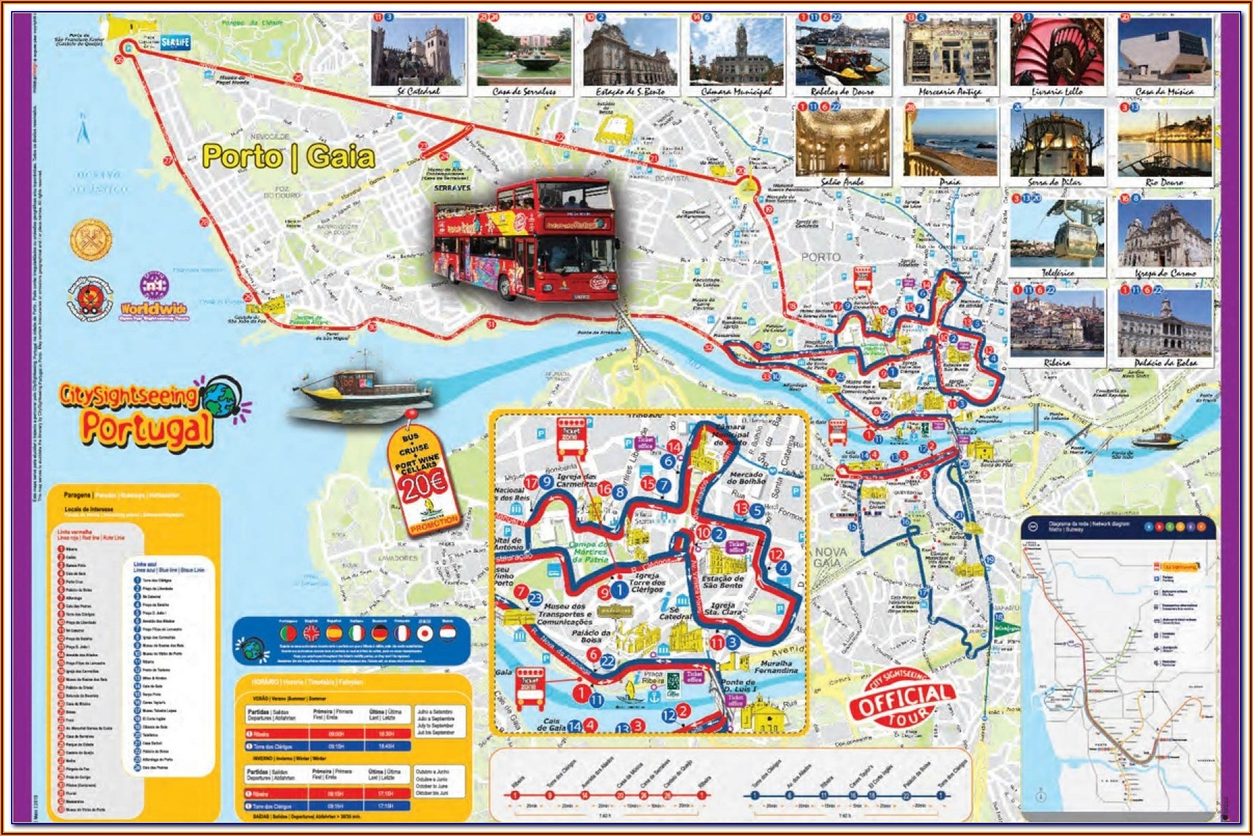 Porto Hop On Hop Off Yellow Bus Map