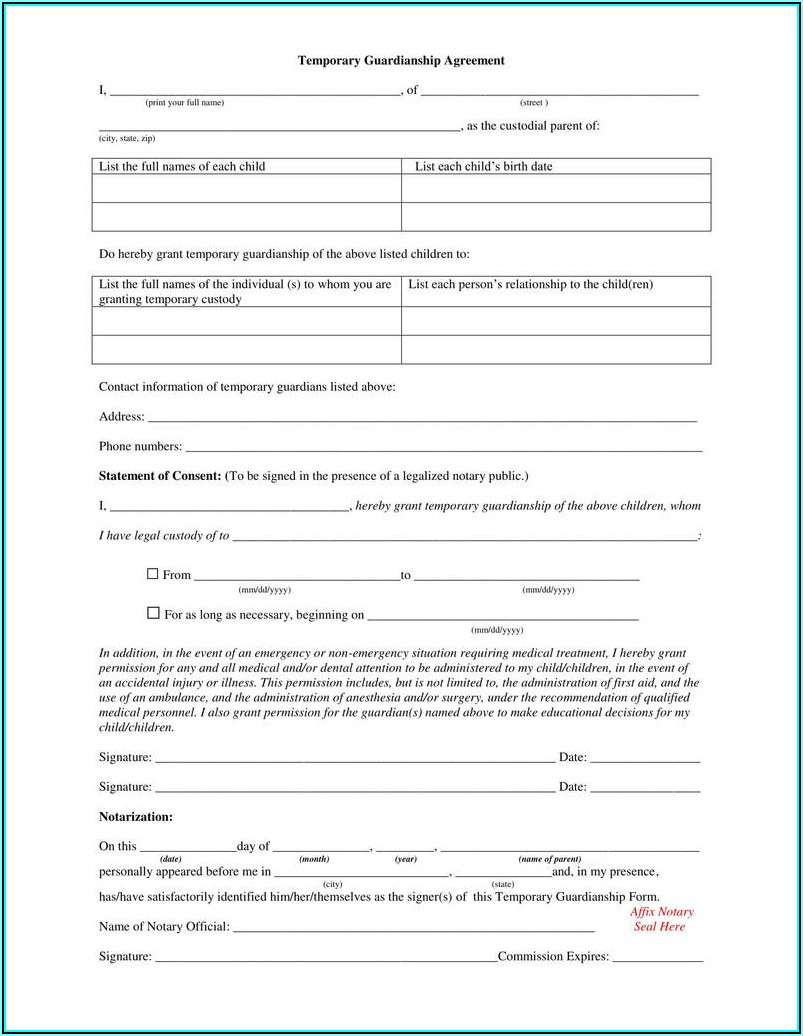 Power Of Attorney Form For Guardianship