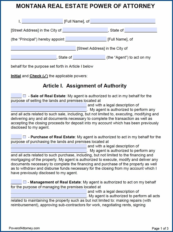 Power Of Attorney Form Montana Dmv