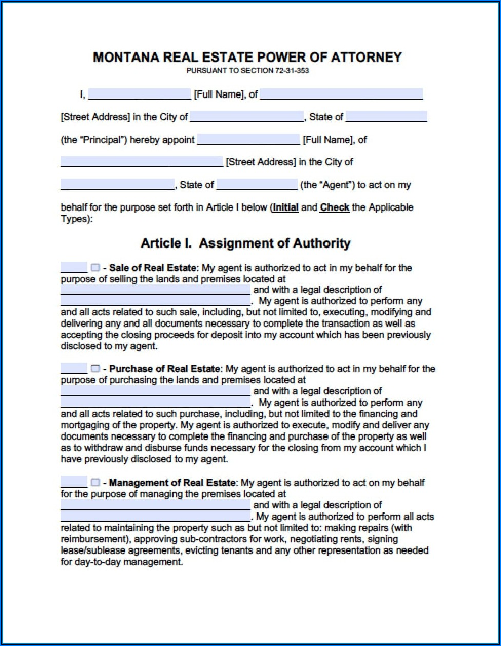Power Of Attorney Form Montana