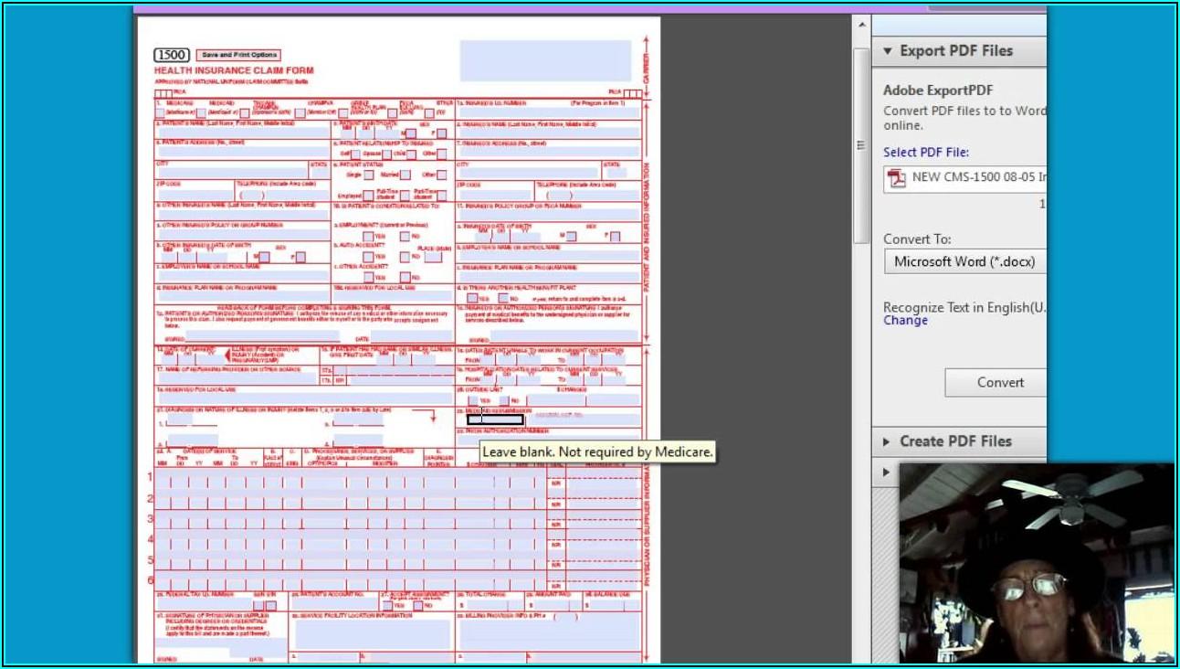 Printable Fillable Hcfa 1500 Claim Form