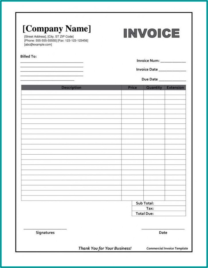 Printable Fillable Invoice