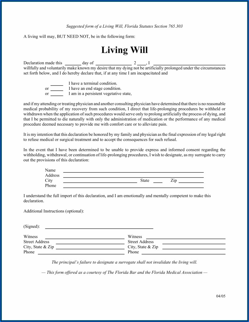 Printable Form For Living Will
