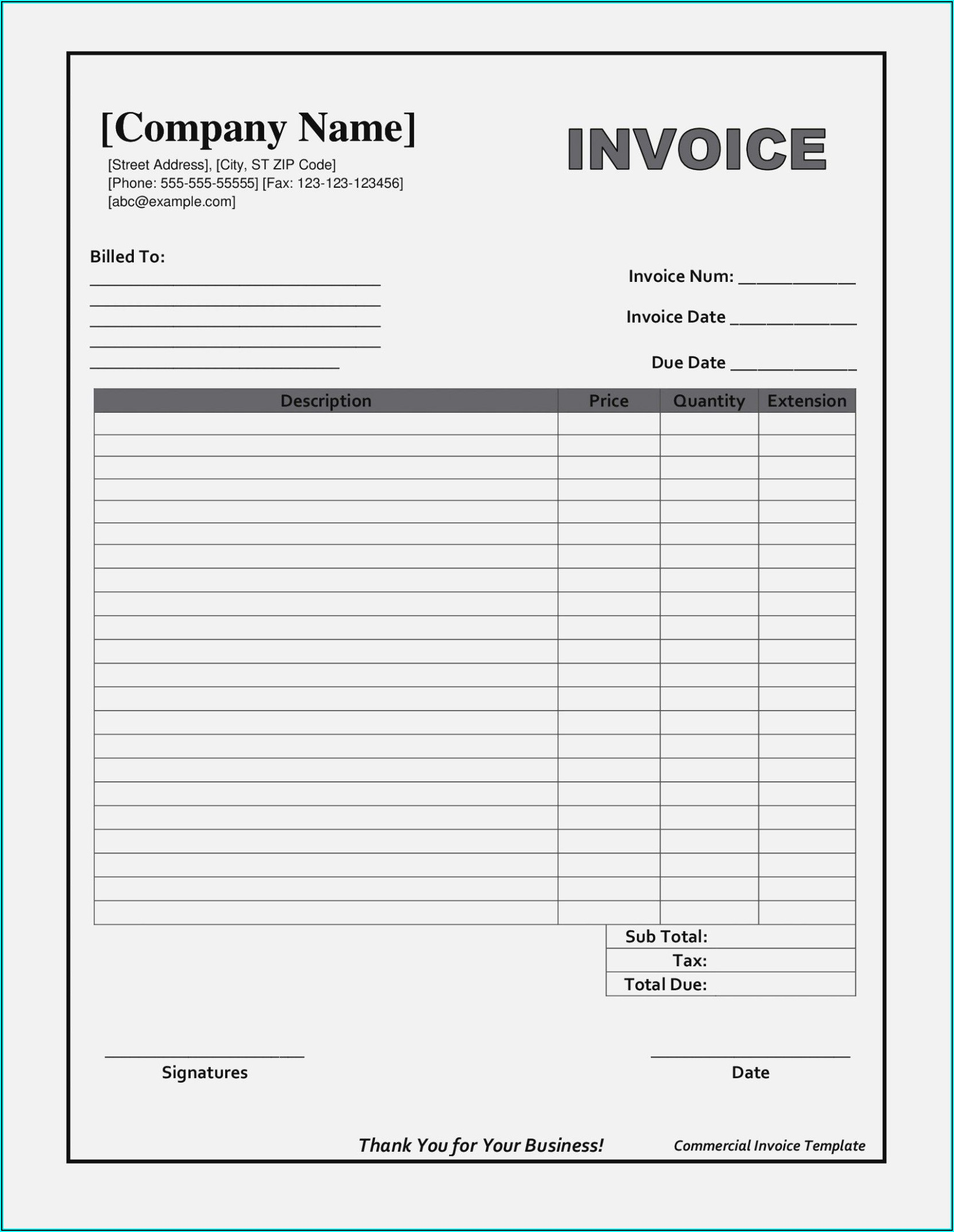 Printable Invoice Forms