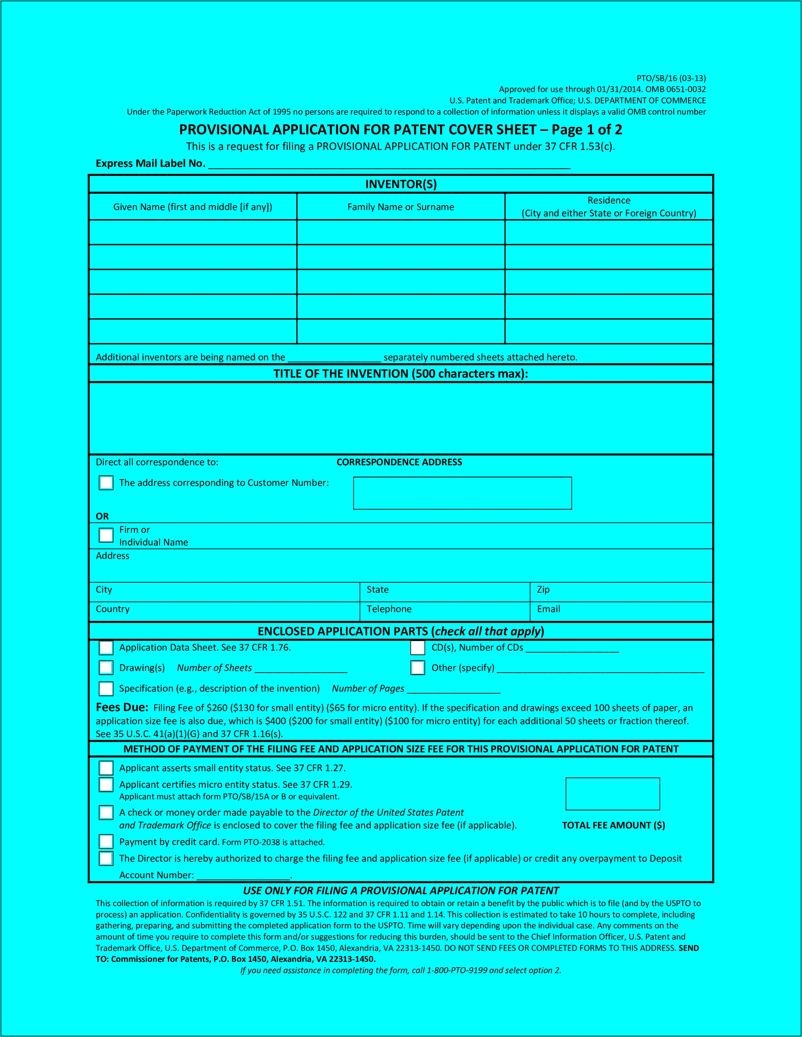 Provisional Patent Filing Forms