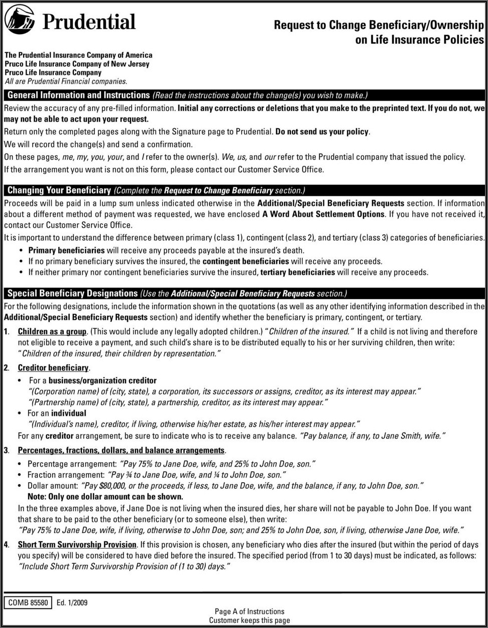 Prudential Life Insurance Collateral Assignment Form