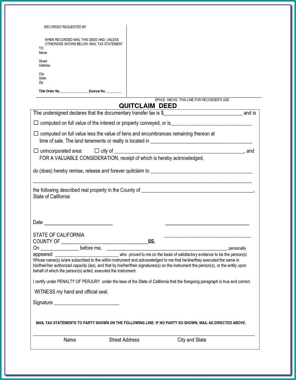 Quit Claim Deed Form Free Download California