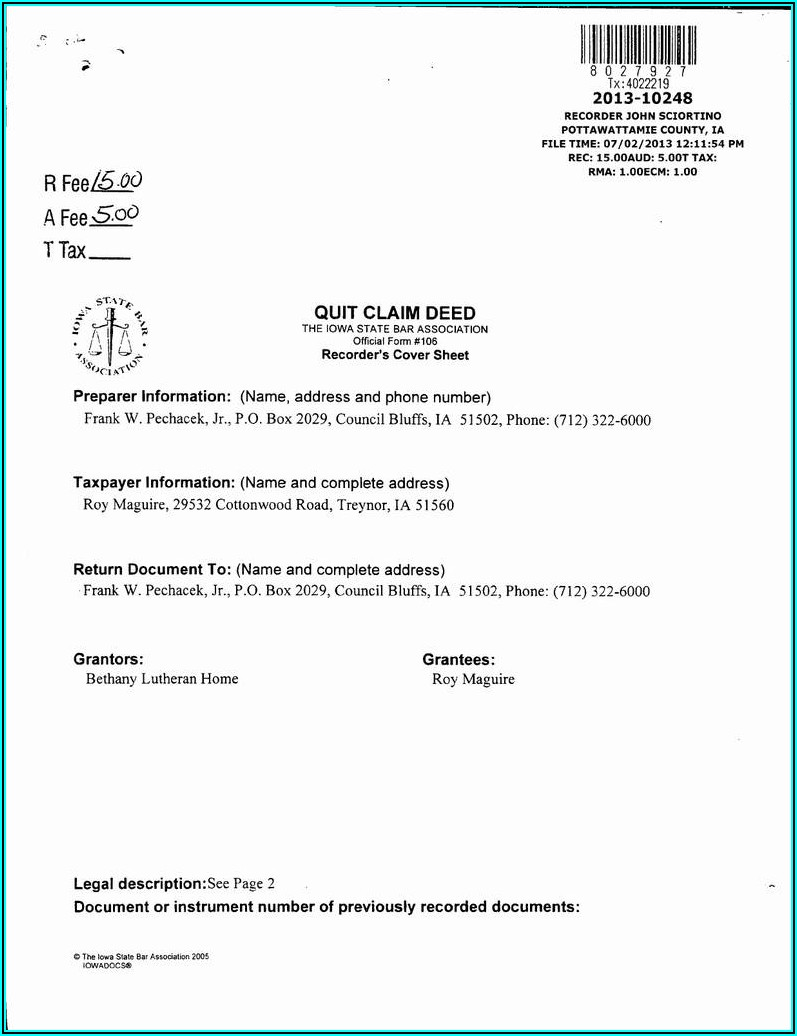 Quit Claim Deed Indiana Free Forms