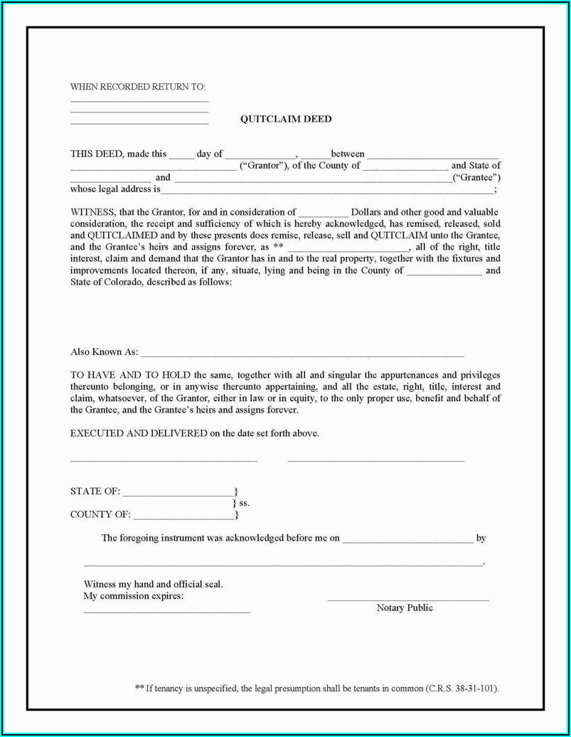 Quitclaim Deed Free Form